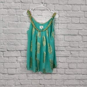 Milly New York | Teal & Gold Braided Neck Blouse